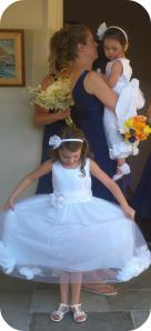 Yes, that's the wonderful Aunt Becky taking care of the flower girls!